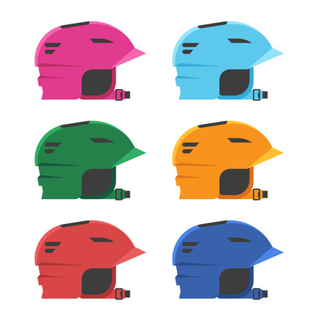Riding helmets for skating, skiing and other sports and activity. Illustration