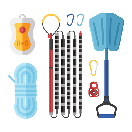 Avalanch rescue kit with probe, snow shovel, rope, beeper and carabiners.  Alpinism protective equipment vector set. Stock Photo