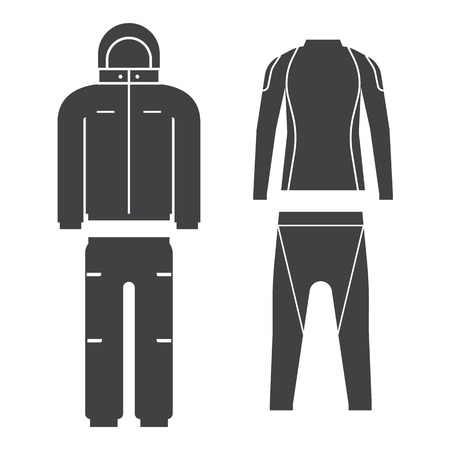 breeches: Vector illustration of skiing suit and sports thermal underwear top and bottom set. Snowboard jacket and trousers. Snowboarding and skiing wear in flat design.