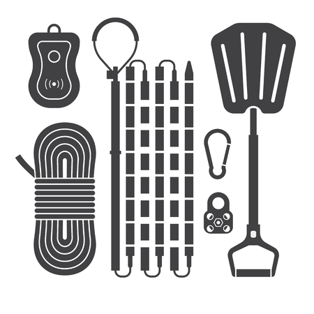 pager: Avalanch rescue kit outline icons including probe, snow shovel, rope, beeper and carabiners in black and white. Alpinism protective equipment vector silhouette set.