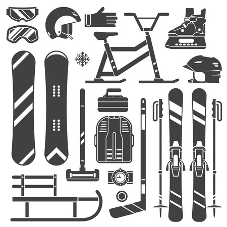 ski pass: Winter sports equipment and gear silhouette set. Ski, skates, snowmobile, hockey, curling, snowboard and sleds. Snow games outline vector icons. Snowboarding and skiing helmets, goggles and gloves. Illustration