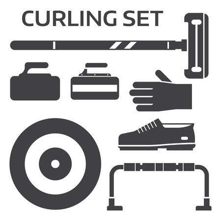 broom handle: Winter curling sport equipment outline icons set with broom, stone, shoes and other elements. Ice sports essentials silhouettes in black and white. Illustration