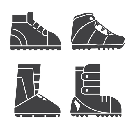 sport shoe: Hiking shoes and snowboard boots outline vector icons. Sport footwear for outdoor activities silhouettes set. Stock Photo