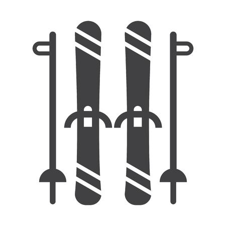Mountain skis and ski poles outline illustration. Freeride skiing silhouette vector icons. Vektoros illusztráció