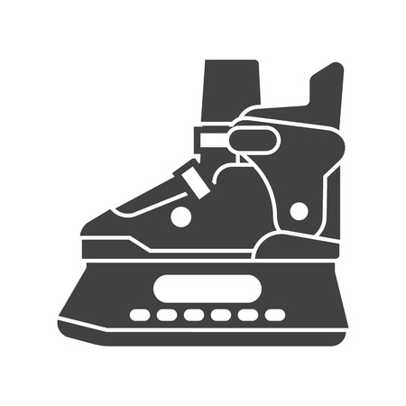 figureskating: Ice skating shoes outline icon isolated on white background. Ice-skates silhouette vector illustration.
