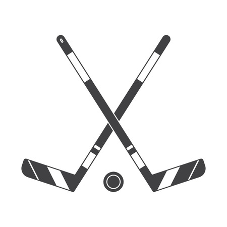 Crossed hockey sticks and puck vector illustration. Winter sports ice-hockey outline icon. Illustration