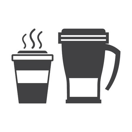 away travel: Take away coffee cup and thermos travel mug outline icons. Illustration