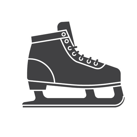 figureskating: Figure ice skating shoes outline icon isolated on white background. Ice-skates silhouette vector illustration.