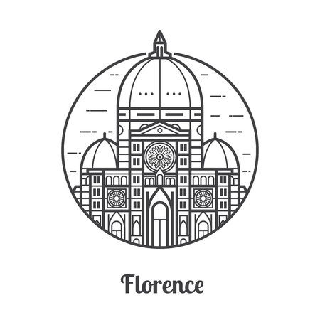 Travel Florence icon. Santa Maria del Fiore is one of famous landmarks and tourist attractions in capital city of Tuscany region, Italy.