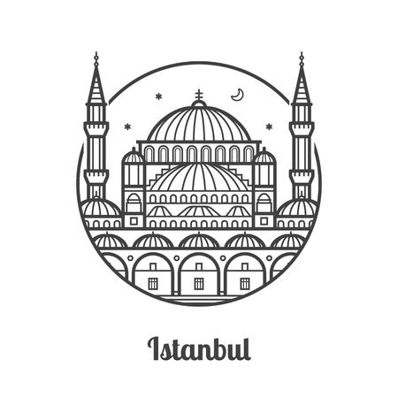旅行イスタンブール アイコン。モスク、トルコの有名な建築ランドマークや観光名所のミナレット。細い線トルコ イスラム教宗教建物。