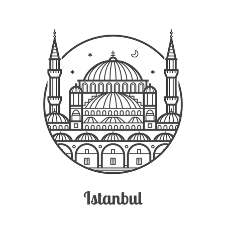 Travel Istanbul icon. Mosque and minarets of famous architectural landmark and tourist attraction in Turkey. Thin line turkish muslim religious building.