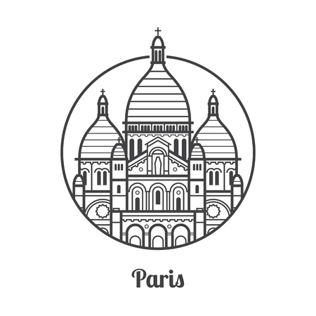 Travel Paris icon. Sacre Coeur church is one of the famous architectural landmarks and tourist attractions in capital of France. Thin line Basilica of the Sacred Heart of Paris icon in circle. Stock Photo