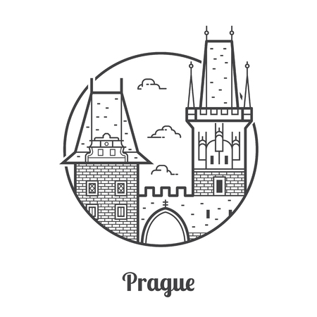 Travel Prague icon. Charles bridge towers on Vltava river is one of the famous architectural landmarks and attractions in Czech Republic capital. Thin line tourist destination icon in circle. Stock Photo