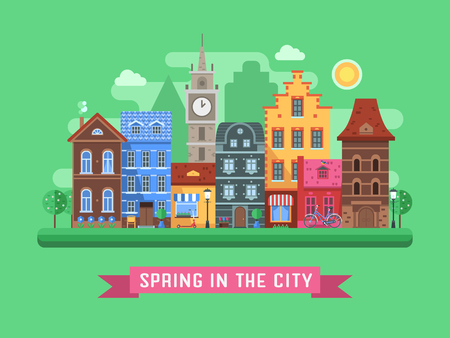 flower pots: Europe spring street background with traditional houses, clock tower, blossoming trees and flower pots by sunny day. Old city urban landscape with colorful building facades and springtime symbols.