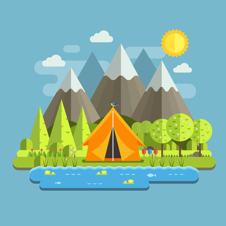 wilderness area: Spring landscape with tourist tent, lake, flowers and blossoming trees. Mountain camping in wilderness outdoor adventure scene. Campsite place in national park area by sunny day at springtime.