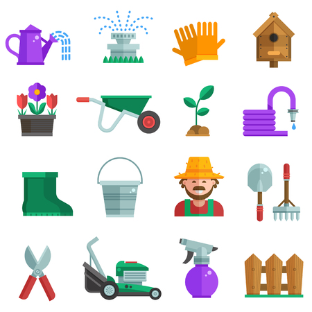 Spring gardening set with farm tools and equipment. Growing plants elements collection with gardener, grass-cutter, wheelbarrow and other law and garden icons. Springtime gardening objects in flat. Illustration