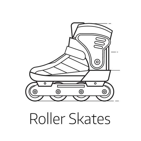 roller blade: Modern roller skates vector illustration. Alternative city transport sport roller blades in thin line design. Personal transportation equipment.