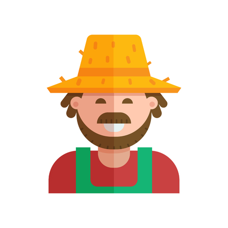 Happy farmer in straw hat vector illustration. Smiling gardener man with moustache and beard. Farm or garden worker vector icon in flat design.