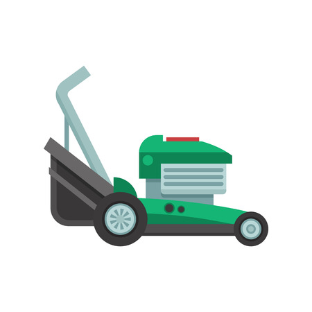 mowing the grass: Rotary lawn mower engine in flat design. Green grass cutter icon. Gardening machine vector illustration.
