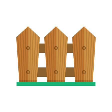 Icono de la valla del jardín. Ilustración de palisade de madera de granja en diseño plano.