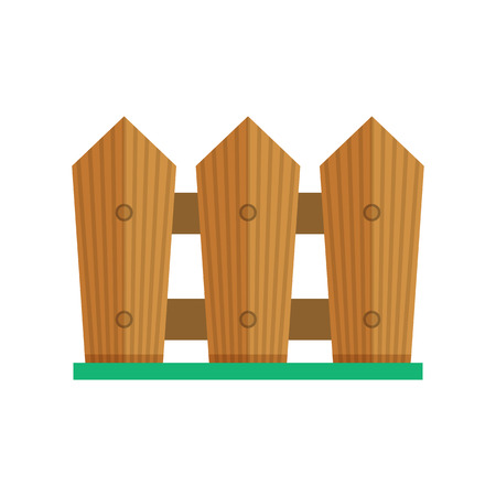Garden fence icon. Farm wooden palisade illustration in flat design.