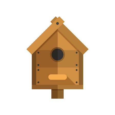 Nesting box vector illustration. Wooden bird house icon.