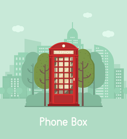english culture: Red phone booth vector illustration. Classic phonebox on modern city background. Vintage public telephone cabin on downtown landscape. Telephone communications concept.