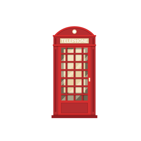 Red phone box vector illustration. London telephone booth isolated on white background. Stock Photo
