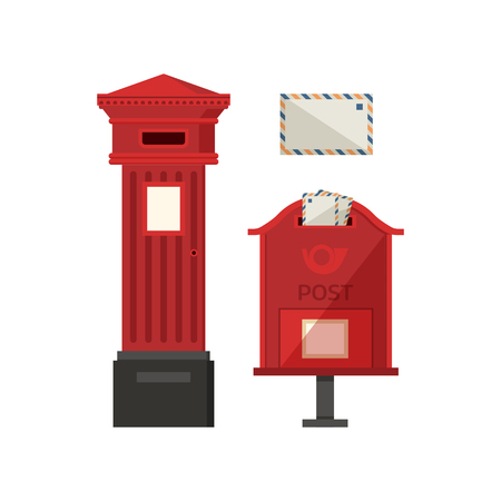 Red postbox vector illustration with vertical pillar letter-box, public wall letterbox and envelope.
