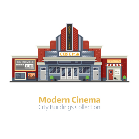 front of house: Modern cinema building facade isolated on white background. Movie theater exterior vector illustration. City culture and entertainment landmark with sign board and ticket office.