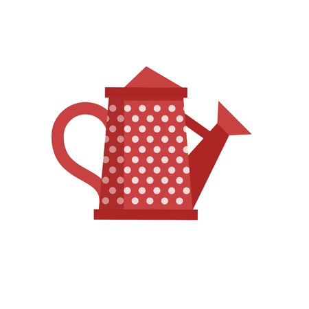 Red watering can with spout vector icon. Spring irrigation symbol. Stock Photo