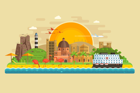 Travel summer island landscape in flat design inspired by Cagliari, Sardinia. Sunset at seaside background with green hills, lighthouse, sand beach, ancient city, pink flamingos and cruise ship. Иллюстрация
