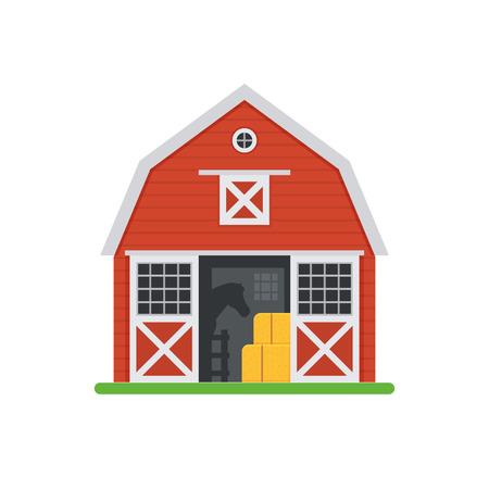 Illustration vectorielle de cheval rouge grange. Ecuries en bois avec portes ouvertes et botte de foin. Granges de vieux chevaux isolés sur fond blanc.
