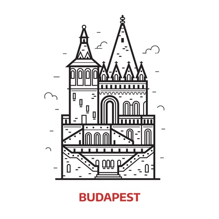 Travel Budapest landmark icon. Fisherman bastion towers is one of the famous architectural tourist attractions in Hungary capital. Thin line medieval castle vector illustration in outline design.