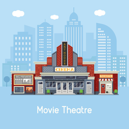 Modern cinema building facade with sign boards and ticket office on downtown background. Movie theater exterior vector illustration. Web banner with city culture and entertainment landmark. Illustration