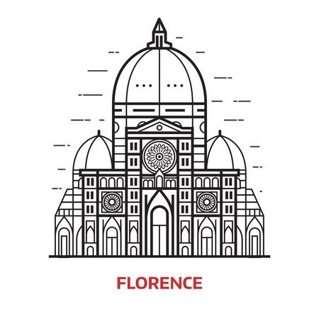 Reizen Florence landmark pictogram. Santa Maria del Fiore is een van de beroemde toeristische attracties in de hoofdstad van Toscane, Italië. Domed Cathedral Duomo vectorillustratie in dunne lijn ontwerp.