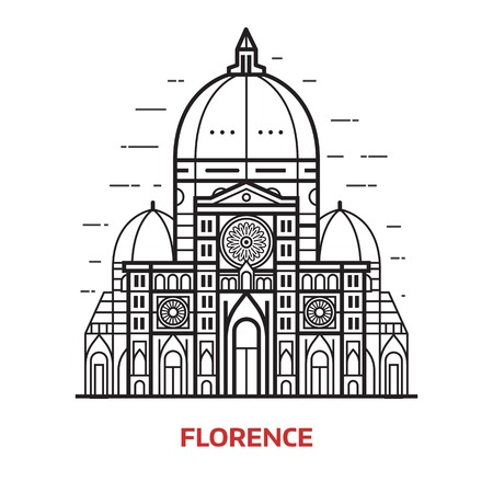 Travel Florence landmark icon. Santa Maria del Fiore is one of famous tourist attractions in capital city of Tuscany region, Italy. Domed Cathedral Duomo vector illustration in thin line design.