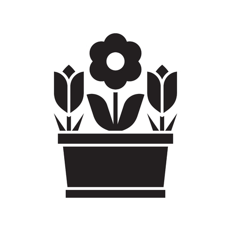 Spring flower pot with tulips and abstract blossom silhouette illustration spring flower pot with tulips and abstract blossom silhouette vector illustration flowerpot icon in outline design mightylinksfo
