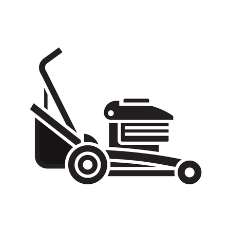 Rotary lawn mower engine in outline design. Grass cutter icon. Gardening machine silhouette vector illustration. Stock Photo