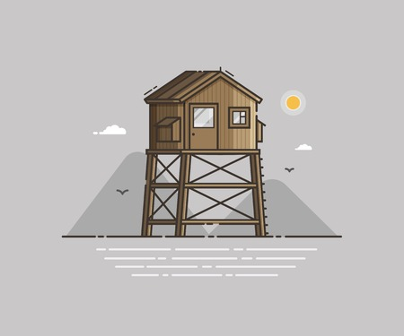 Wooden lifeguard house on seaside background in flat design. Retro life guard tower on sea coast landscape. Baywatch hut vector illustration.