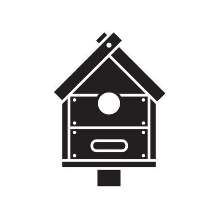 Nesting box silhouette vector illustration. Wooden bird house icon in outline design.
