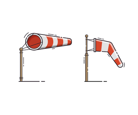 Airport windsock showing no wind and windy weather. Red striped wind bag vector illustration.