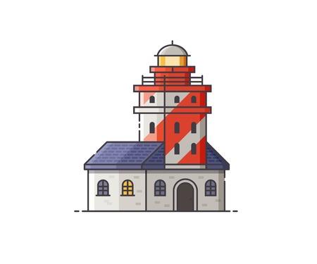 Lighthouse vector illustration. Red light house building isolated on white background. Illustration