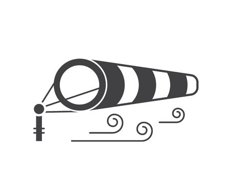 meteorologist: Windsock icon in outline design. Wind speed logo with inflated striped windbag on airport runway.