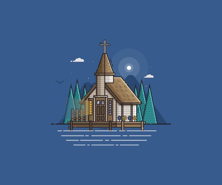 stilt: Wooden church on the lake night scene vector illustration. Pier chapel on seaside background. Sea side landscape with traditional marine kirk for sailors or fishermen.
