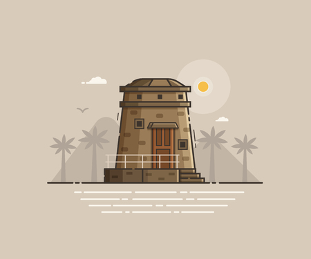 coast guard: Sea side landscape with signal or observation tower. Stone lighthouse on tropical beach coast vector illustration. Old light house on seaside background in thin line design. Summer travel concept.
