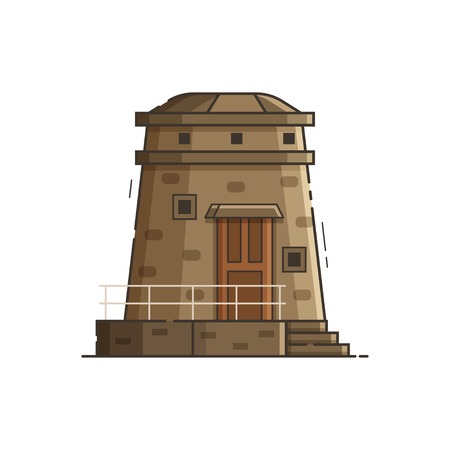 Sea observation tower isolated on white background. Old stone lighthouse vector illustration in flat design.
