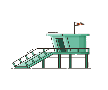 windsock: Wooden lifeguard house in flat design. Retro life guard tower isolated on white background. Baywatch hut or observation tower vector illustration. Illustration