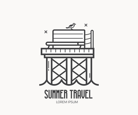 Summer travel logo or label template in linear style. Seaside travel agency logotype in thin line design with sea pier. Wooden jetty outline icon with bench and seagull. Çizim