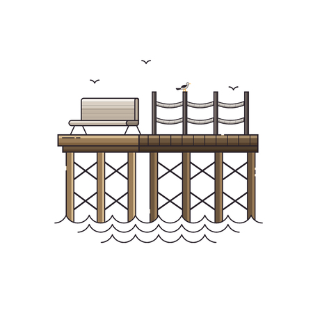 Sea pier vector illustration. Wooden jetty, seagulls and bench at seaside vacation concept.